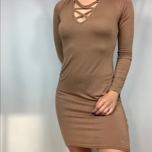Boohoo Brown Strappy Body Con Dress